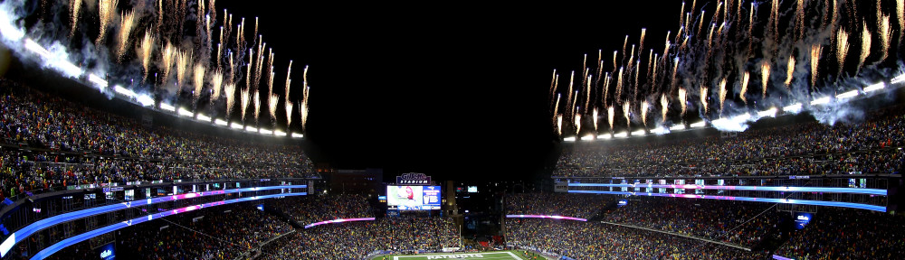 FOXBORO, MA - JANUARY 18: A general view as fireworks go off at the start of the 2015 AFC Championship Game between the New England Patriots and the Indianapolis Colts at Gillette Stadium on January 18, 2015 in Foxboro, Massachusetts.  (Photo by Mike Lawrie/Getty Images)
