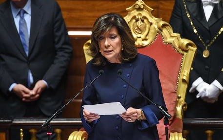 The new president of the Italian Senate, Maria Elisabetta Alberti Casellati, delivers a speech following her election, in Rome, Italy, 24 March 2018. Maria Elisabetta Alberti Casellati is the new president of the Italian Senate. ANSA/ALESSANDRO DI MEO
