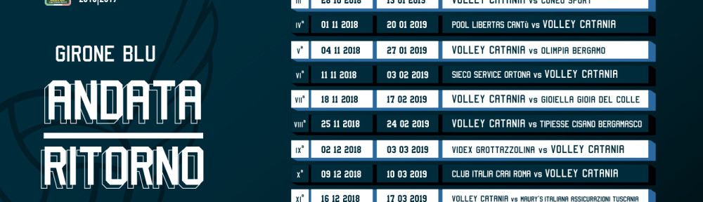 Calendario Serie A2 Volley Girone Blu 2018-2019
