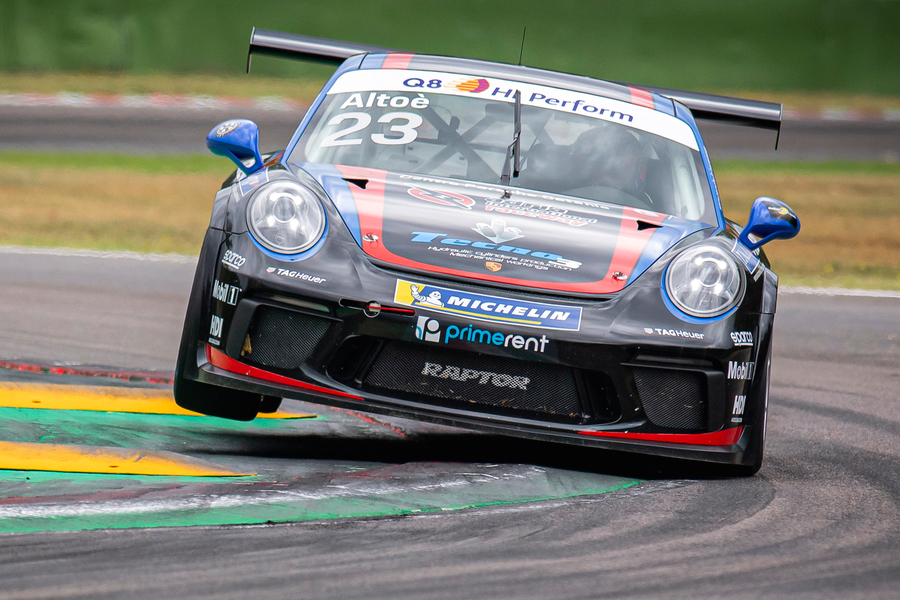 IMOLA, ITALY - AUGUST 30: Giovanni Altoè of Raptor Engineering in action during the Porsche Carrera Cup Italia Round 5/6 Day Three at Enzo & Dino Ferrari Circuit on August 30, 2020 in Imola, Italy. (Photo by Giorgio Perottino/Getty Images for Porsche Italia)